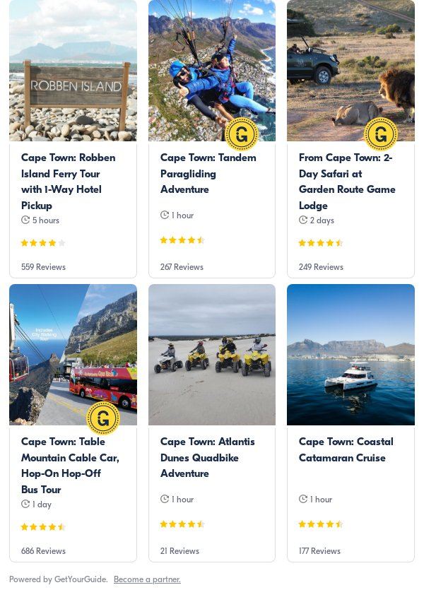 cape town: Get Your Guide