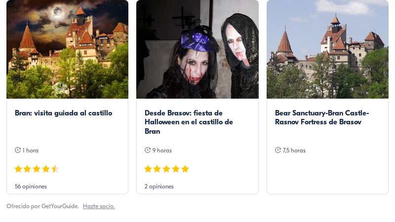 tours para ir a Bran con Get Your Guide